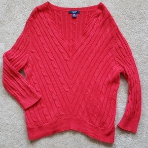 Chaps red sweater womens size medium